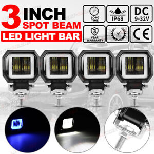 4x 3inch Cree Led Work Light Bar Spot Pods Driving Fog Halo Offroad Atv Suv 4wd
