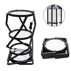 81 Portable Round Folding Twister Tower Display Case W Top Led Light Usa