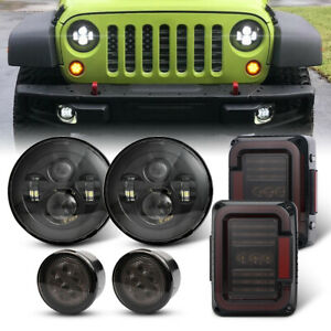 For Jeep Wrangler Jk Jku Turn Signal Lamps tail Lights 7 Inch Led Headlights Kit