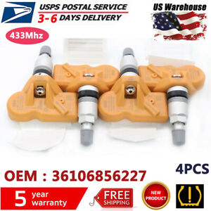 4pcs 36106856227 Oem Orange Tpms Tire Pressure Sensor For Bmw X3 X5 Z4 Mini