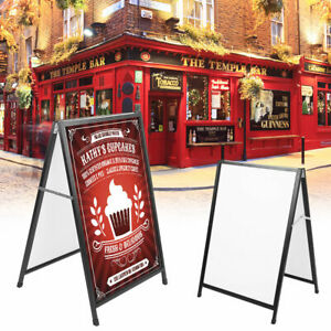 A Frame Sign Massage Board Holder Iron Poster Stand Display Double Side Sidewalk