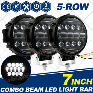 3x 7 Inch 280w Round Off Road Drl Led Work Lights For Jeep Bumper Truck Boat 4wd