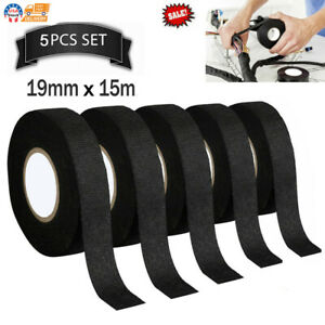 Tesa Cloth Tape Adhesive Looms Wire Harness 19mm 15m Black For Car Auto 5 Rolls
