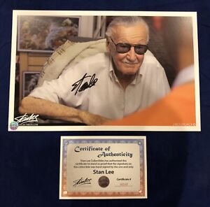 Stan Lee Smiling Photo Litho Signed by Stan Lee with COA Very Limited MARVEL $195.95