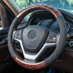 Brown Pu Leather Steering Wheel Cover Car Accessories For Women Fit 14 5 15in