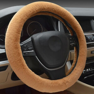Brown Plush Steering Wheel Cover Fuzzy For Winter Car Accessories Interior New