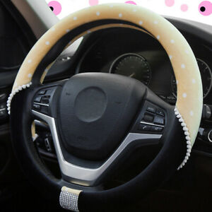 Sparkly Fuzzy Steering Wheel Cover For Women Fit 14 5 15in Cute Car Accessories