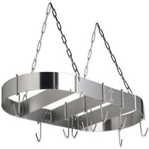 Calphalon Stainless Steel Oval Pot And Pans Hanging Kitchen Storage Rack Silver