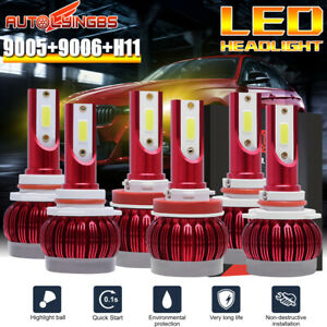 6pcs 9005 9006 H11 Led Headlight Bulb 3000k Hi Lo Beam Yellow Light 45000lm