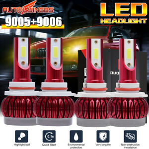 4pcs 9005 9006 Led Headlight Bulb Hi Lo Beam Front Yellow Light 180w 3000k