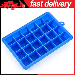 Flexible Ice Cube Mold Tray Maker With Removable Lid 24 Cubes Per Tray