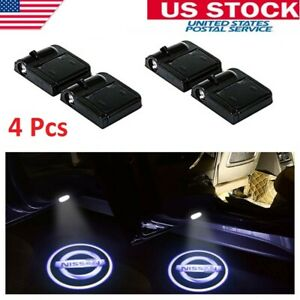 4x For Nissan Led Wireless Ghost Shadow Projector Logo Courtesy Door Step Lights