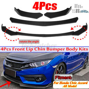 4pcs Front Bumper Lip Spoiler Splitter Matte For Honda Civic 4dr Sedan 2013 2015