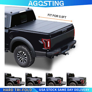 New 5 5 Ft Hard Quad fold Tonneau Cover For 2015 2021 Ford F 150 Truck Bed