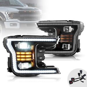 Upgraded Black Full Led Headlights W Sequential Turn Signal For 18 20 F 150