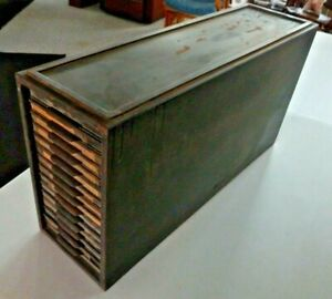 1917 Antique Kardex 14 Drawer Metal File Filing Cabinet Very Heavy Duty