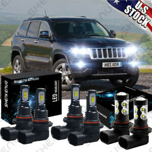 For Jeep Grand Cherokee 2005 2010 6x 6000k Led Headlight Fog Light Bulbs Kit