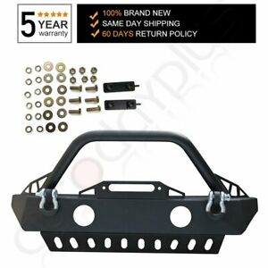 Textured Front Bumper W Oe Fog Light Holes And Skid Plate For 07 18 Wrangler