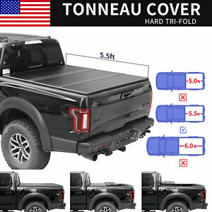 For 2004 2014 Ford F150 5 5ft Truck Bed Hard Tri fold Tonneau Cover