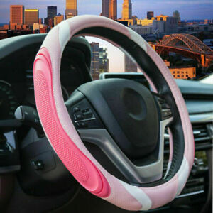 Car Accessories Pink Steering Wheel Cover For Women Non Slip Breathable Fit 15in