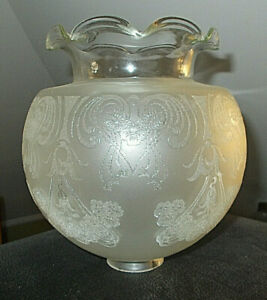 Ant Victorian Gas Lamp Light Shade Satin Clear Chintz Etched 1