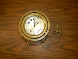 Antique Seth Thomas Brass 8 Day Ship S Clock 7 Jewels Has Key Not Working