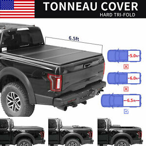 For 2015 2020 Ford F 150 6 5ft Truck Bed Hard Tri fold Tonneau Cover