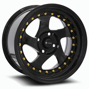 Vors Vr2 15x8 4x100 20 Black Wheels 4 73 1 15 Inch Rims