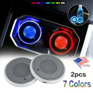 2pc Led 7 colors Light Changing Usb Cup Pads Car Interior Accessories Decoration