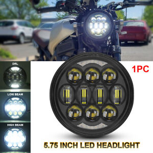 Black 5 75 5 3 4 Inch Led Headlight Halo Drl Projector Hi lo Beam For Motorcycle