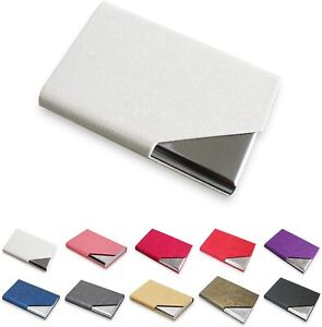 Kalim Professional Business Card Holder Pu Leather Stainless Steel Multi func
