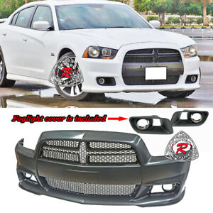 Srt 8 Hellcat Style Front Bumper W Grill W Fog Covers Fit 11 14 Dodge Charger