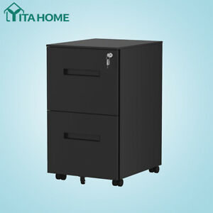 Yitahome 2 drawer Lateral Legal File Cabinet Office Stroage Organizer Lock Black