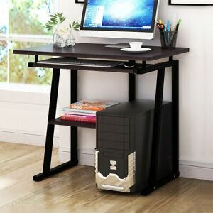 Computer Desk Small Space Saver Desk Laptop Pc Table Home W keyboard Tray Black