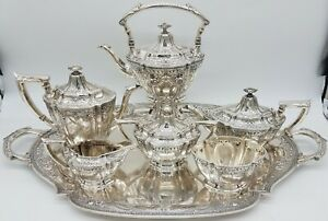 Watson Sterling Silver Hand Chased 7 Pc Tea Coffee Set With Tray