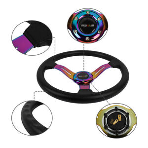 14 Ralliart Style Racing Sport Neo Chrome Steering Wheel With Horn Button