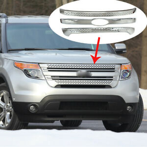 Front Bumper Grill Covers Fit For 2011 2015 Ford Explorer Snap On Overlay Chrome