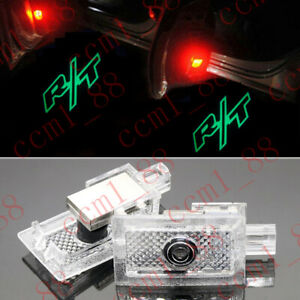 2x Green R t Logo Led Door Ghost Laser Projector Puddle Lights For Dodge Charger
