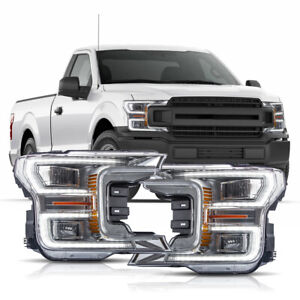 Chrome Full Led Headlights W Sequential Turn Signal Born For 18 20 F 150 Xl