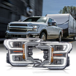 Customized Chrome Full Led Headlights Sequential For 18 20 Ford F 150 King Ranch