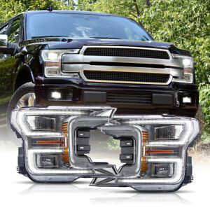 For 18 20 F150 Platinum Chrome Led Reflector Switchback Sequential Headlights