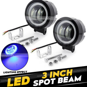 2x 3 Inch Led Work Light Bar Spot Pods Driving Fog Halo Off Road Atv Truck 4wd