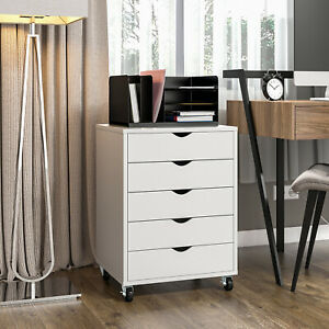 Yitahome 5 Drawers File Cabinet Chest Mobile Organizer Office Storage Wood White