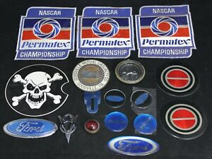 16 Vintage Rat Rod Accessories Lot License Plate Topper Jewel Decals