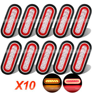 10x Rv Trailer Truck Red Amber Led Mount 6 Oval Stop Turn Tail Light Sealed