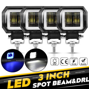 4pcs 3inch 80w Square Led Work Light Bar Pods Spot Driving Lamp Halo Drl Atv 4wd