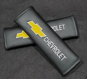 Chevrolet Premium Black Leather Car Seat Belt Cover Shoulder Pad Cushions New