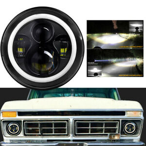 Dot 7 Inch Round Led Headlights High Low Beam For Ford Bronco 1966 1978 Black