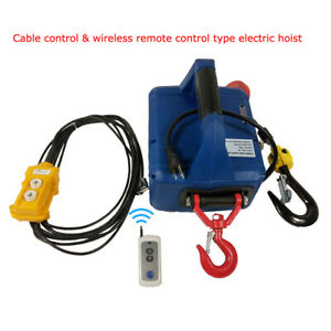 Us 110v Portable Household Electric Winch Wire controlled Remote Working Lift