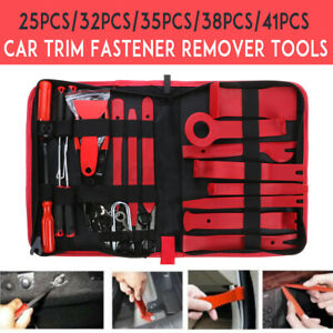 38 41pcs Car Trim Removal Tool Kit Trimmer Hand Pry Bar Dash Panel Door Clip Bag